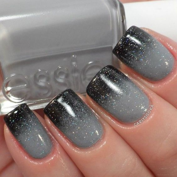 33 Black And Grey Ombre Nails