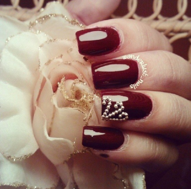 Burgundy Nail Design With Pearls Victorias Glamour