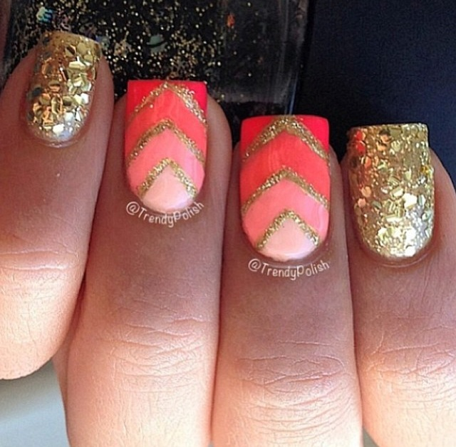 CORAL AND GOLD - Trendy Coral Nail Art - Victoria's Glamour
