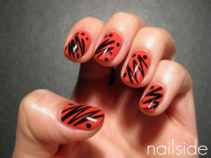 general-trendy-red-nail-art-design-with-black-zig-zag-stripe-and ...
