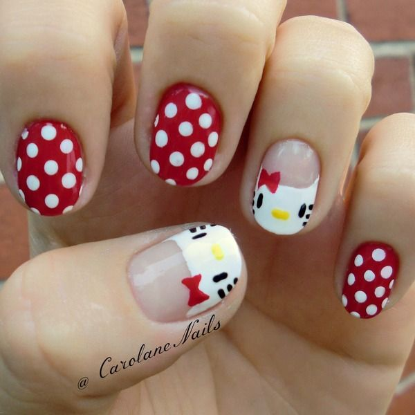 Hello kitty nail designs victorias glamour the white and red shades topped with polka dots and hello kittys cute face is simple charming very creative and can be done by anyone with just a little prinsesfo Choice Image