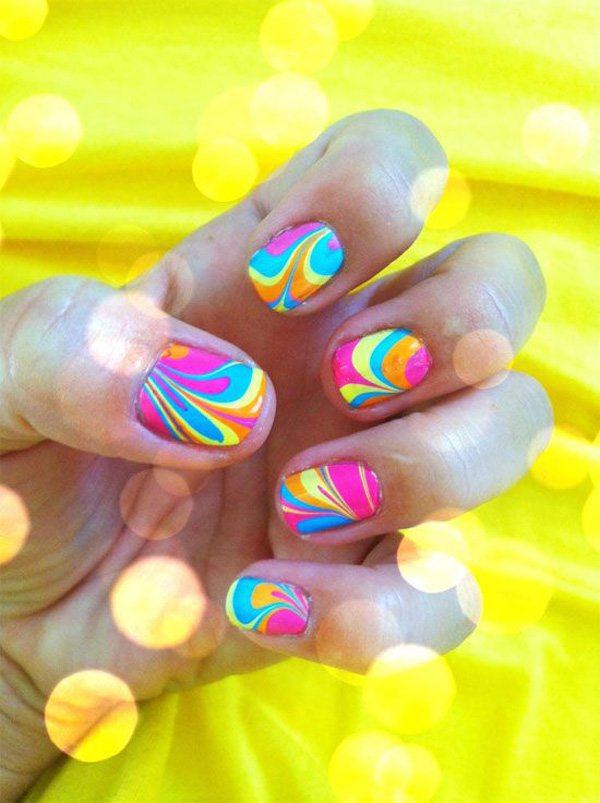 Water Marble Nail Art Design Victorias Glamour