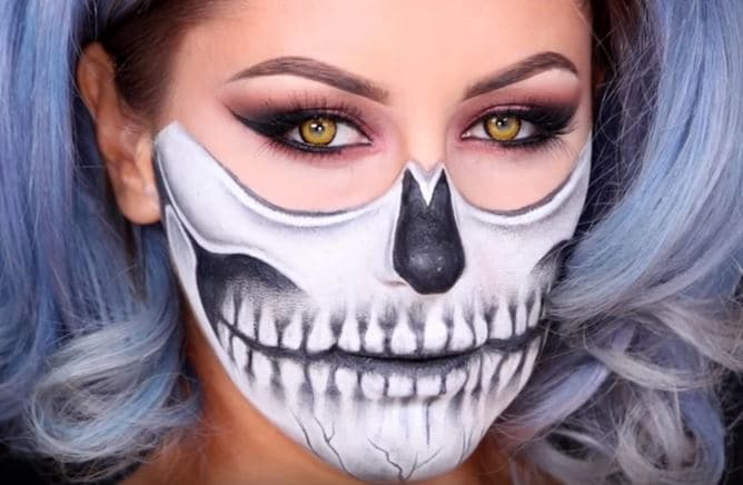 12 ideas for halloween makeup who needs a costume victorias make yourself look like a skeleton its easier than you think and you only need some black and white cream face makeup the creepy contact lenses are a solutioingenieria Image collections